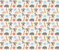 Animalla fabric by mytinystar on Spoonflower.com - custom fabric - choose Kona cotton $18/yard to silk, voile, twill, ect. custom fabric by the yard.