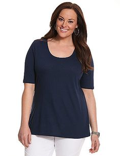 Essential scoop neck tee offers comfort and endless versatility for work or play in a spoil-you-soft micro modal blend. Short sleeves. lanebryant.com