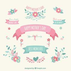 Dia das mães decoração elementos Vetor grátis