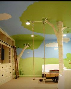 I love swings and trees indoors.. so cute