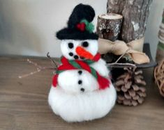 Needle Felted wool Snowman hand spun/hand knit by BearCreekDesign