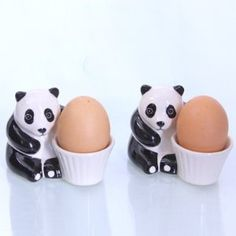 Set of 2 Panda egg cups: Eierbecher Set - Modell Panda, 2-er Set
