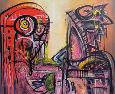 Artist : Pablo M. / Title : Personajes Comiendo / Dimensions : 100 x 120 cms / Price : MXN $25,000 / Status : Sold / Technique : Mixed on Canvas / Year : 2015