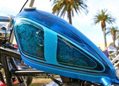 Eye Candy narrow frisco tank blue flake lace