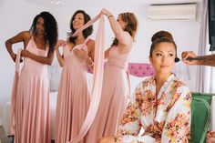 bridesmaids and bride wedding preparation at Rocabella Santorini
