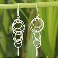 'Magic' sterling silver dangle earrings by Withaya Cheunjit at NOVICA