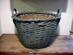 Early/Old HUGE 19th C Ash Splint Wool Gathering Basket In Blue Paint