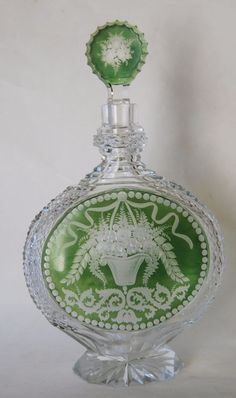 Fine Victorian Cut Bohemian Czech Glass Decanter Bottle Antique Vintage Number