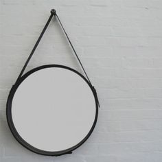 Round hanging Captains mirror with leather strap Mirrors With Leather Straps, Round Mirrors, Maine House, Black Leather, Brisbane, Bathroom, Street, Home Decor, Bedroom