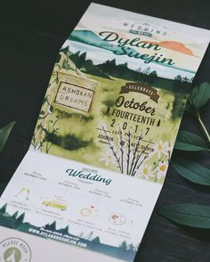RUSTIC MOUNTAIN CUSTOM ILLUSTRATED WATERCOLOR WEDDING INVITATION