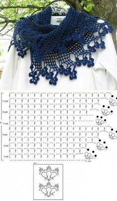Trendy Ideas For Crochet Lace Wrap Pattern Charts Crochet Bolero, Crochet Flower Scarf, Crochet Flower Patterns, Crochet Poncho, Crochet Scarves, Crochet Motif, Crochet Designs, Crochet Clothes, Crochet Flowers