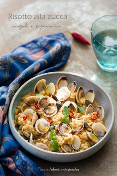 risotto with pumpkin and clams