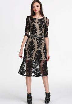 Downton Abbey Black Long Sleeve Embroidered Backless Lace Dress
