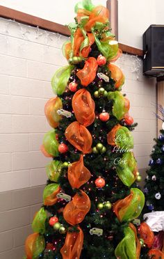 Servpro Christmas tree, orange & green mesh