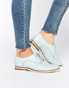 Lost Ink Lilly Leather Lace Up Flat Shoes Asos nice color