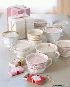 DIY tea cup candles as shower prizes? since they're DIY then they can be as organic and chemical free as you desire.
