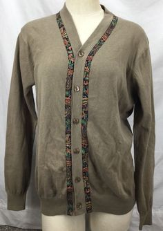 ETRO Knit Cardigan Sweater Paisley Trim Border size 40 (US 6) Casual Fine Knit #Etro #Cardigan
