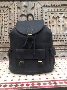 Large Charcoal  Black handmade Travel  Leather  Backpack from new york