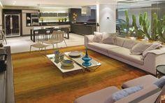 O tapete é o elemento que divide os ambientes do loft assinado por Otto Brill e Rebeca Maaldi na Casa Cor Brasília. Foto: Divulgação