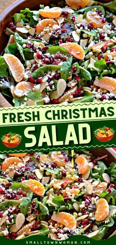 Fun and festive Christmas food! This dinner side is sure to be a hit. Tossed with greens, almonds, feta, mandarin oranges, and pomegranate arils, this easy Christmas Salad recipe is gorgeous as it is delicious!