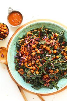EASIEST Asian Kale Salad with Crispy MISO Chickpeas! 20 minutes, 7 ingredients, healthy, satisfying! #vegan #kale #salad #recipe