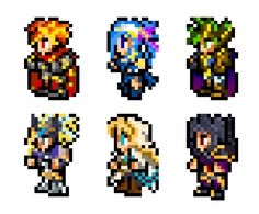 Art style ripped from Final Fantasy. Characters ripped from Brave Frontier. The Six Heroes (BF) Brave Frontier, Video Game Art, Final Fantasy, Weapon, Bowser, Sci Fi, Fanart, Character Design, Universe