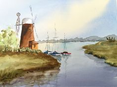 Watercolour Windmill & Boats - By Bazza