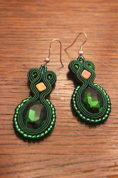 Green soutacje earrings - simple and elegnat!