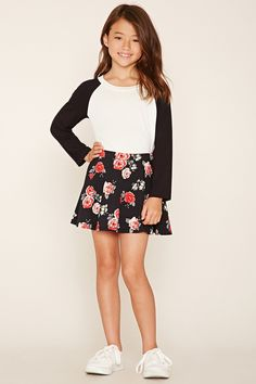 Forever 21 Girls - A knit mini skater skirt featuring an allover rose floral print and an elasticized waist. Matching top available.