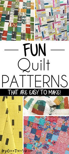 Easy Quilt Patterns for Modern Quilts. Seven easy modern quilt designs easy enough for a beginner to sew.