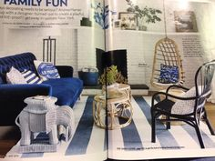 Blues and rattan furniture