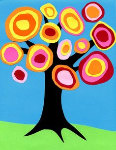 If you combine the idea of rings of color with a tree, you get a Kandinsky tree collage. Try to have the students make as much variation as possible.