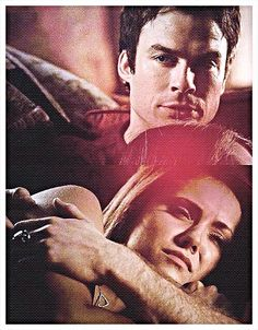 Delena | The Vampire Diaries...So cute! I want to cuddle with Damon!