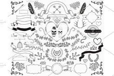 Hand-Drawn Doodle Design Elements Graphics **Hand-Drawn Doodle Floral Design Elements. Decorative Ribbons, Frames, Wreaths. Valentine's Day. We by O L Y A