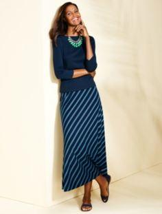 Bias-Stripes Maxi Skirt - Talbots