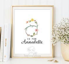 Nursery Letter Monogram Art printable flower by LittleEmmasFlowers $8 printable file