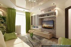 Интерьер гостинной с зелеными шторами