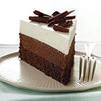 Triple-Chocolate Mousse Cake Recipe - America's Test Kitchen- Grain-free and gluten-free I have made this. It is amazing! Beaux Desserts, Just Desserts, Delicious Desserts, Dessert Healthy, Gourmet Desserts, Plated Desserts, Triple Chocolate Mousse Cake, Chocolate Desserts, Chocolate Cake