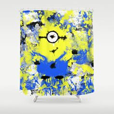 Splatter Painted Minion  Shower Curtain by Trinity Bennett - $68.00