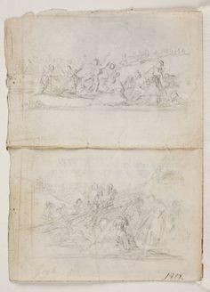 Goya en El Prado: Apuntes de dos escenas con figuras [Baile popular / Figuras arrastrando un peso con cuerdas]