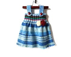 Knitted Baby Dress Blue Multicolor 9 12 от SasasHandcrafts
