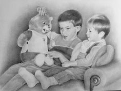 """""""Brothers"""" commissioned original by Audrey Bottrell Parks Black And White Portraits, Art For Sale, Parks, Teddy Bear, Student, Fine Art, Animals, Animales, Animaux"""