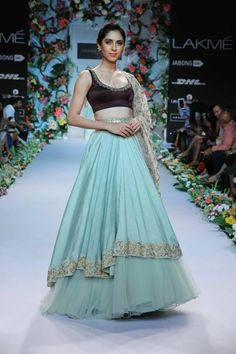 Shyamal & Bhumika Lakme Fashion Week Summer Resort 2014 blue brown lehnga tulle