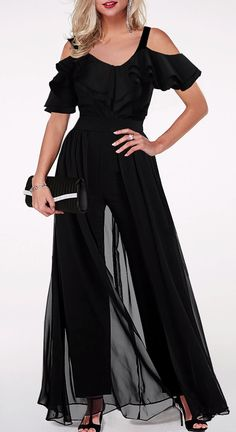 Ruffle Trim Strappy Cold Shoulder Jumpsuit Turn heads this holiday season in black jumpsuit from Rotita.The figur-flattering jumpsuit will ensure you have the perfect outfit for every occasion.Shop the ruffle jumpsuit today. Ruffle Jumpsuit, Jumpsuit Outfit, Black Jumpsuit, Dress Black, Women's Dresses, Fashion Dresses, Moonlight Couture, Trendy Clothes For Women, Stylish Clothes