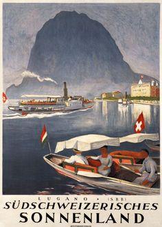 illustration : affiche de tourisme, Lugano, Südschweizerisches Sonnenland - SBB, Suisse