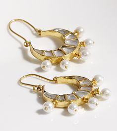 White Embellished Bali Earrings