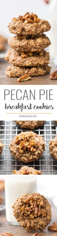 Pecan Pie Quinoa Breakfast Cookies -- made with only a few simple ingredients, healthy and taste like dessert!