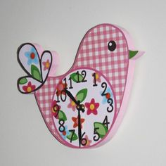 Pretty Lil Birdie Wooden Wall Clock for Girls by ToadAndLily, $45.00