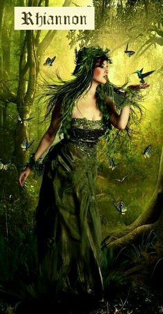 f Druid Rhiannon is the Celtic Goddess of the earth and fertility, of horses, birds, inspiration and the moon. Celtic Goddess, Celtic Mythology, Goddess Art, Goddess Of Nature, Earth Goddess, Green Goddess, Elfen Fantasy, Celtic Art, Celtic Fantasy Art