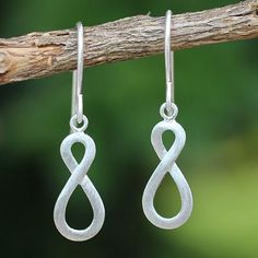 Handcrafted Infinity Symbol Sterling Silver Dangle Earrings - Into Infinity | NOVICA